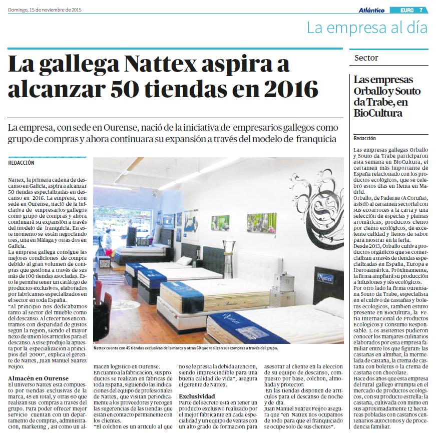 La gallega Nattex aspira a alcanzar 50 tiendas en 2016